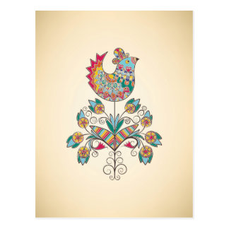 Boho-chic chick on flower postcard