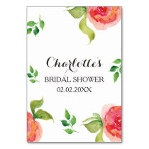 boho chic Coral floral bridal shower bingo cards