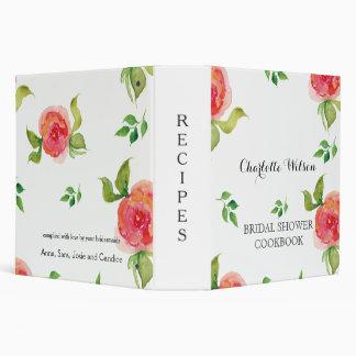 boho chic Coral floral bridal shower recipe book Binder