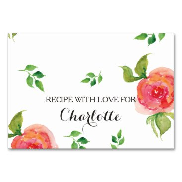 boho chic Coral  floral bridal shower recipe cards