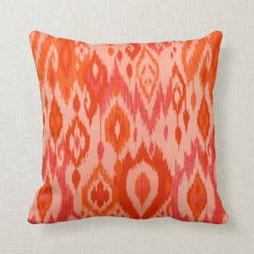 Aztec Themed Boho Chic coral orange peach Ikat Tribal Tapestry Throw Pillow