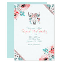 Boho Chic Cow Skull Floral Birthday Invitation