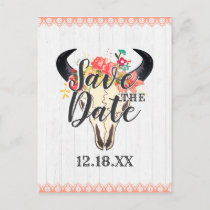 Boho Chic Cow Skull Floral Bouquets Save the Date Announcement Postcard