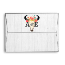 Boho Chic Cow Skull Floral Rustic Wedding Monogram Envelope
