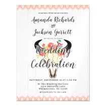 Boho Chic Cow Skull Magnetic Wedding Invitation