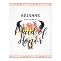 Boho Chic Cow Skull Will You Be My Maid of Honor Card