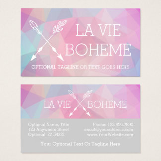 Boho Chic Crossed Arrows Pastel Polygonal Bohemian Business Card
