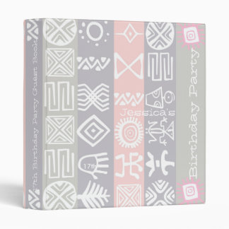 Boho-chic Ethnic 17th Birthday Party Guest Book Vinyl Binders
