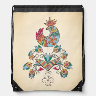 Boho-chic, ethnic, folk chick on flower. drawstring bag