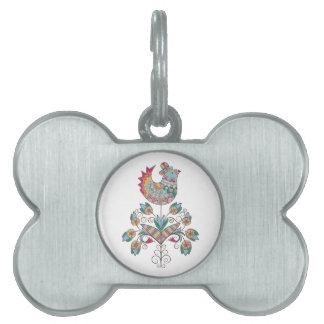 Boho-chic, ethnic, folk chick on flower. pet tag