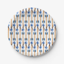 boho chic feather arrow native pattern paper plate