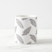 boho chic feather, bohemian pattern mug