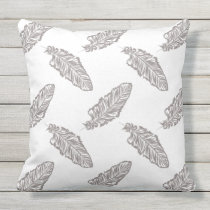 boho chic feather, bohemian pattern outdoor pillow