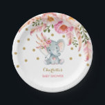 """Boho Chic Floral Baby Elephant Pink Gold 7&quot; Plate<br><div class=""""desc"""">Gorgeous elephant theme paper plate featuring feminine pink watercolor flowers,  feathers and faux gold confetti Perfect decoration for baby shower,  baby sprinkle,  birthday party,  etc.</div>"""