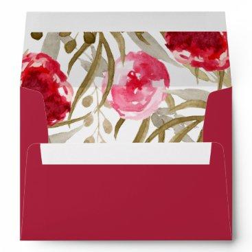 boho chic Floral Liner Wedding envelopes