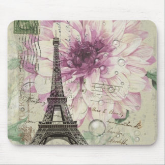 Boho Chic floral Vintage Paris Eiffel Tower Mouse Pad