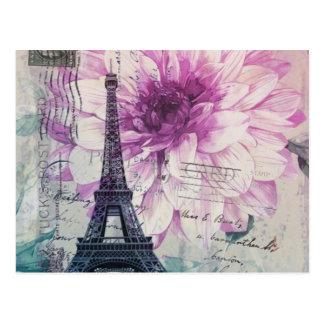 Boho Chic floral Vintage Paris Eiffel Tower Postcard