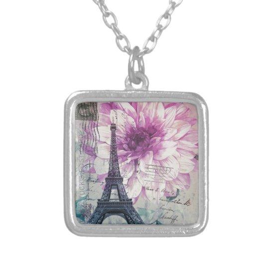 Boho Chic floral Vintage Paris Eiffel Tower Silver Plated Necklace