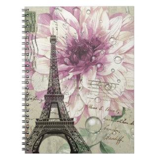 Boho Chic floral Vintage Paris Eiffel Tower Spiral Notebook