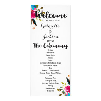 Boho Chic Floral Watercolor Wedding Program