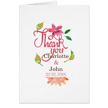 Boho Chic Floral Wedding Thank You cards
