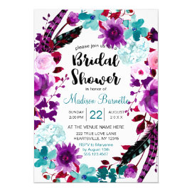 Boho Chic Floral Wreath Bridal Shower Invitation