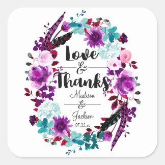 Boho Chic Floral Wreath Purple Love & Thanks Favor Square Sticker