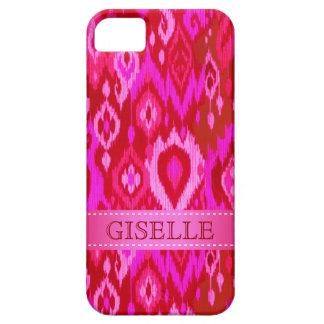 Boho Chic fuchsia pink Ikat Tapestry Monogram iPhone 5 Cover
