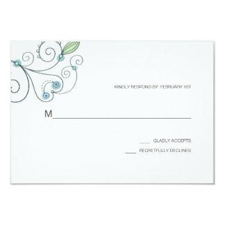 BOHO Chic Garden Wedding Blue RSVP Card