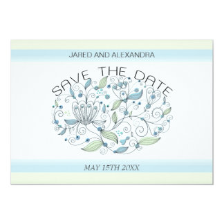 BOHO Chic Garden Wedding Save the Date Blue Card