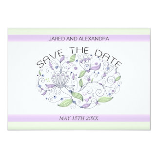 BOHO Chic Garden Wedding Save the Date Purple Card