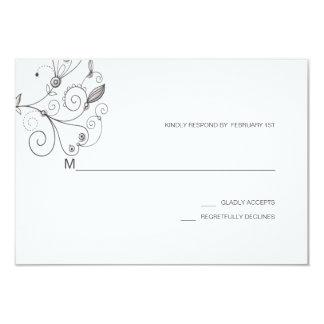 BOHO Chic Garden Wedding Taupe Cream RSVP Card