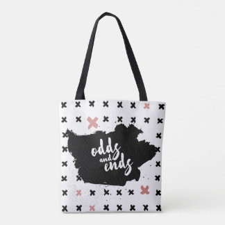 Boho-Chic Hand Drawn Black Ink Pink Doodle Crosses Tote Bag