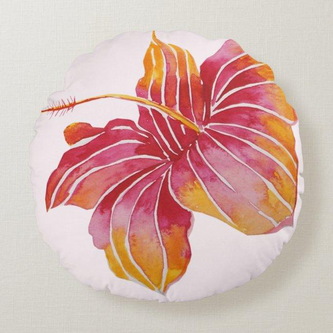 Boho Chic Hawaiian Flower Cotton Throw Pillow