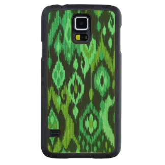 Boho Chic Ikat Tribal Tapestry mint emerald green Carved Maple Galaxy S5 Case