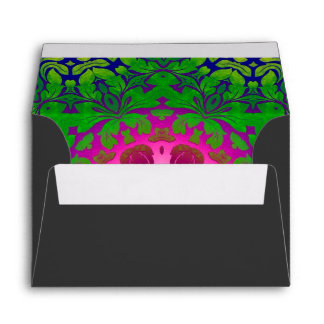 Boho Chic kaleidoscope Yoga Fuschia green mandala Envelope