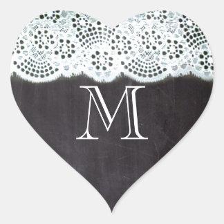 boho chic lace girly french chalkboard monograms heart sticker