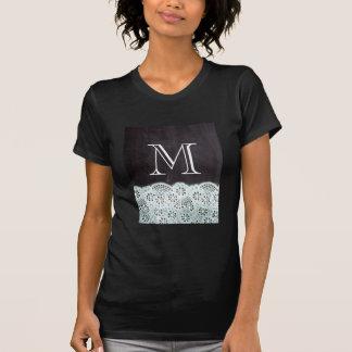 boho chic lace girly french chalkboard monograms T-Shirt