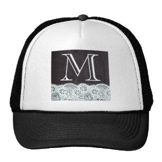 boho chic lace girly french chalkboard monograms trucker hat