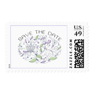 Boho Chic Lavender Purple Save the Date Postage