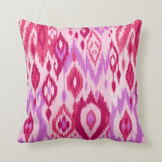 Boho Chic lilac orchid pink Ikat Tribal Tapestry Throw Pillow