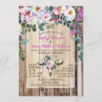 Boho Chic Longhorn Cow Skull Floral Wedding Invitation