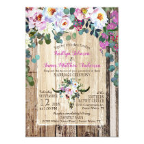 Boho Chic Longhorn Cow Skull Floral Wedding Invitation
