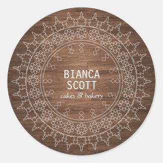 Boho Chic Mandala on Dark Wood Classic Round Sticker