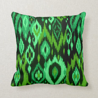 Boho Chic mint emerald green Ikat Tribal Tapestry Pillows
