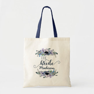 Boho Chic Mint Navy Floral Monogram Wedding Bride Tote Bag