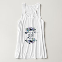 Boho Chic Mint & Navy Floral Mother of the Bride Tank Top