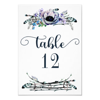 Boho Chic Mint & Navy Floral Table Number Seating