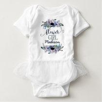 Boho Chic Mint & Navy Floral Wedding Flower Girl Baby Bodysuit