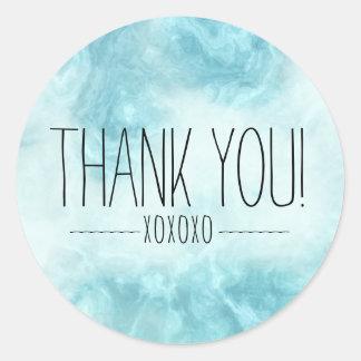 Boho Chic Modern Blue Thank You XOXOXO Classic Round Sticker